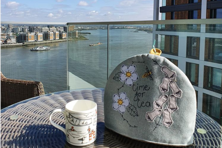 Gloriously sunny to cheer us all up. Tea on the balcony and its not going cold tx to new @poppytreffry cosy! #drinktea #tea #sunshine #stayhome @academyann on Instagram
