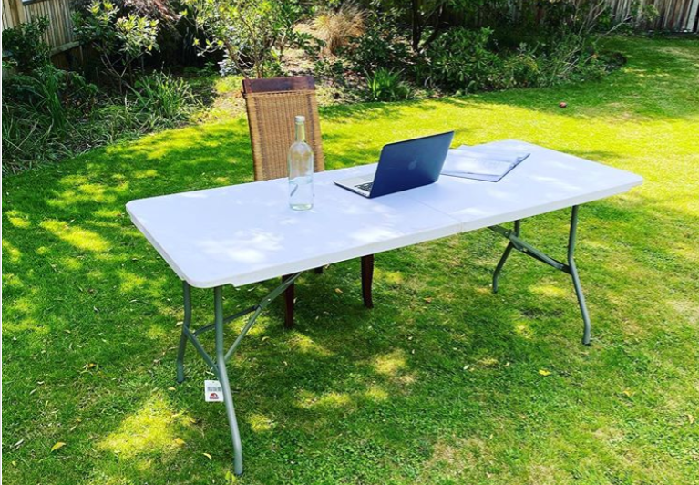 My makeshift, outdoor office today - channeling a casual, Dominic Cummings garden press conference vibe @itsjamesherring