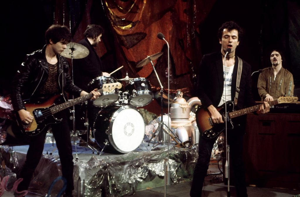 AX5EJ2 STRANGLERS UK group in 1977 with Hugh Cornwell second from right and Jean-Jacques Burnel at left