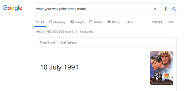 Zero click search result in Google