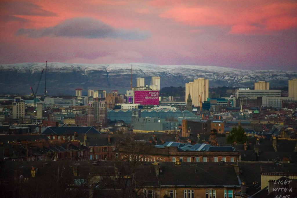 Landscape version of my shot of sunset over #Glasgow @DanJonesGlasgow on Twitter