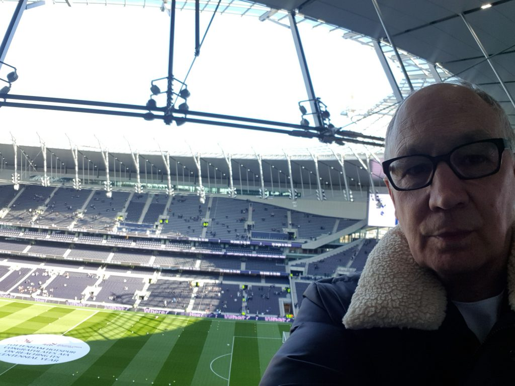 The view from Dr Kevin Ruck's seat at White Hart Lane - the home of Spurs football club.