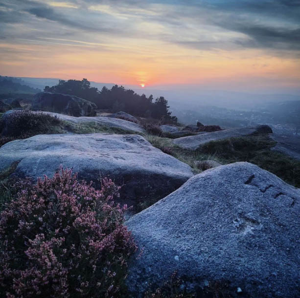 Sunset from the top of Ilkley Cow and Calf @emmabprice on Instagram