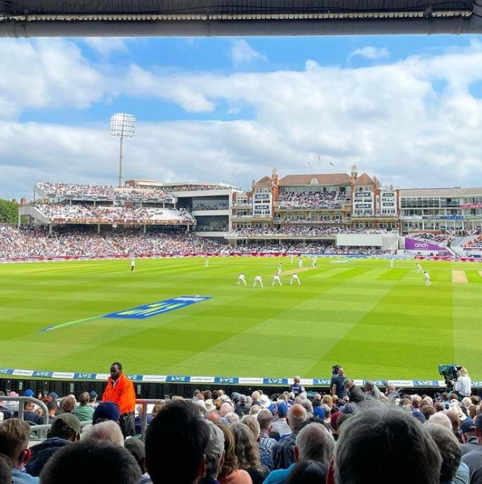 Spectator sport is back! I am at The Cricket! England v India, Fourth Test day 1. 🍻 🏏 @sparklypinchy on Instagram