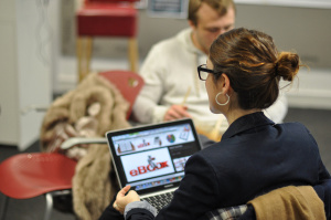 PR student with laptop
